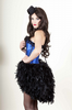 Blue Satin Corset Feather Bustle Dress * Made To Order Moulin Rouge Costume * Burlesque Fancy Dress Costumes